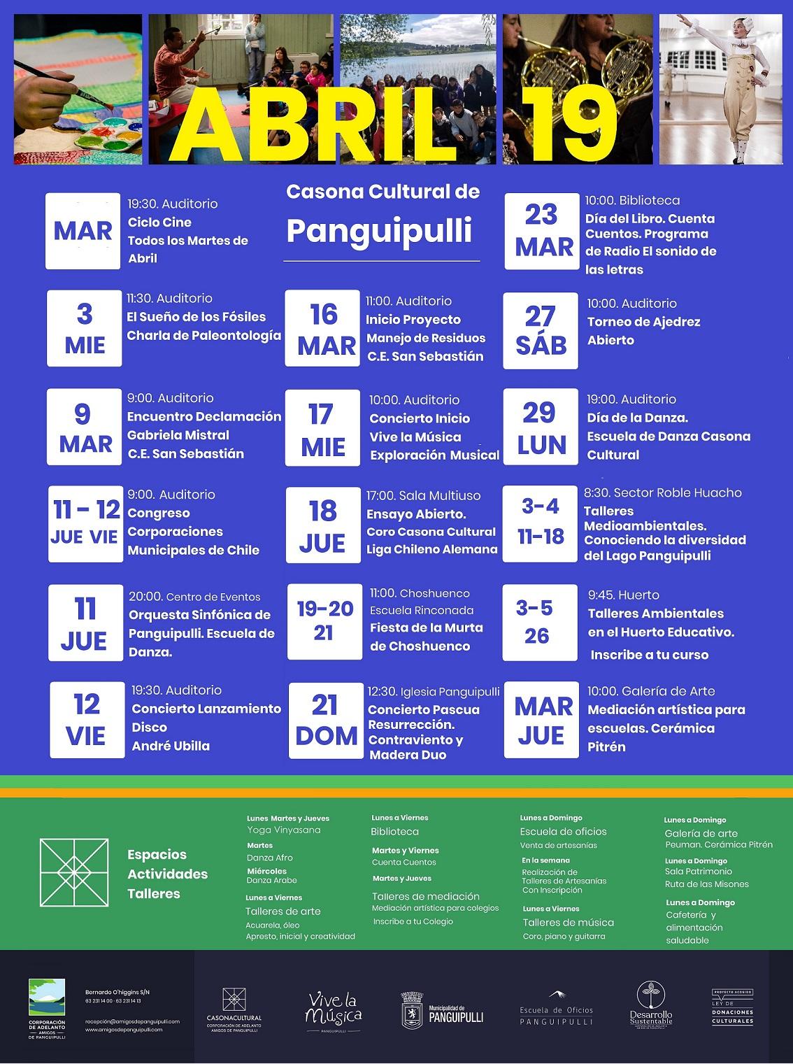 Programación Abril Casona Cultural